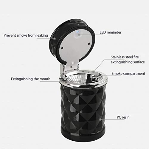 YMXLJJ Diamond Ashtray Portable Fashion Creative Ashtray High Temperature with LED Light Cigarette Smoke Office Home Car Travel Accessories,Black by YMXLJJ (Image #5)