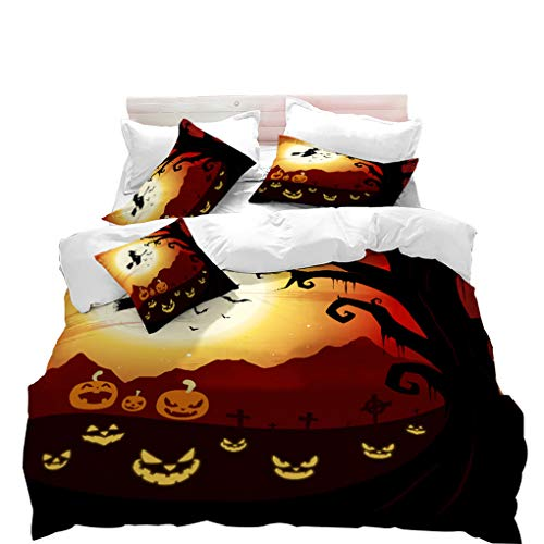 (VITALE Duvet Cover Set, Halloween Printed Quilt Cover Twin Size, Cartoon Horrible Pumpkin Witch Printed 3 Pieces Twin Size Bedding Set Kids Bedding Halloween Decor )