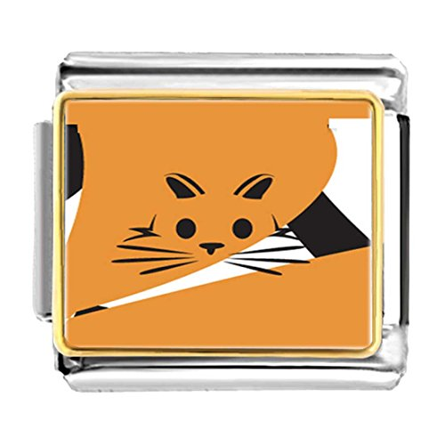 GiftJewelryShop Gold Plated Orange Cat Painting Enamel Bracelet Link Photo Italian Charm ()