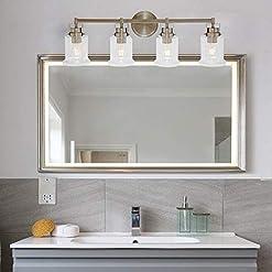 Farmhouse Wall Sconces VINLUZ 4-Lights Farmhouse Bathroom Vanity Light Brushed Nickel Modern Wall Lighting with Clear Glass Shade Over Mirror… farmhouse wall sconces