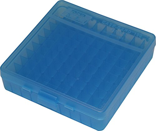MTM 100 Round Flip-Top Ammo Box 40/45/10MM Cal (Clear Blue)