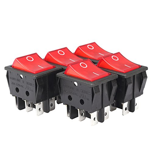 uxcell 5Pcs AC 20A/125V 22A/250V DPDT 6Pin 2 Position Illuminated Red neon lamp Light Boat Rocker Switches ()