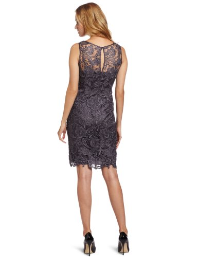 Adrianna Papell Women's Illusion Neckline Lace Dress, Charcoal, 6
