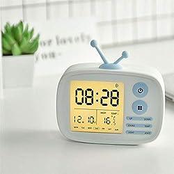 Succper Creative Alarm Clock Retro TV Shaped Alarm Clock Multi Function USB Charging Voice Reminders Alarm Clock Bedside Alarm Clock for Kids Adults