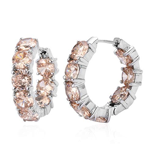 - Hoops Hoop Earrings Stainless Steel Round Cubic Zircon Champagne Gift Jewelry for Women Ct 17.6