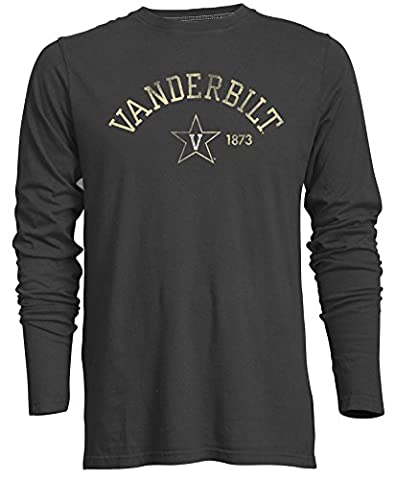 Camp David Men's NCAA Vanderbilt Commodores Signature Crew Neck Long Sleeve Tee, Carbon - Large - Signature Camp Shirts