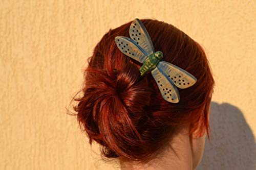 Handmade Hair Fork Wood Dragonfly Hair Pin Barrette, Wooden Hair Accessory, Hair Stick, Wooden Hair Pin, Slide, Wooden Shawl Pin, Haarstabg,