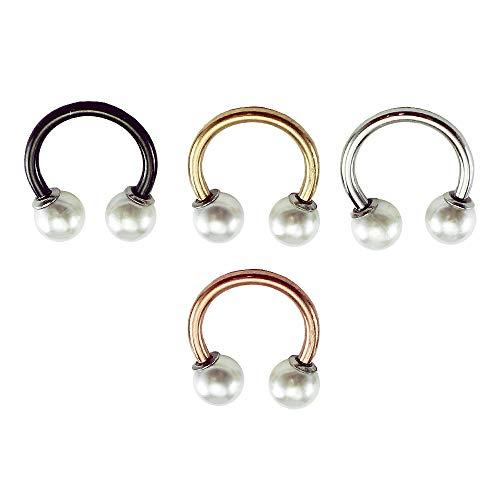 (HiUnni 16g Pearl Horseshoe Ring, Rose Gold Cartilage Earring, Septum Ring, Daith Helix Earring, 1pc (Rose Gold, Inner Diameter: 3/8