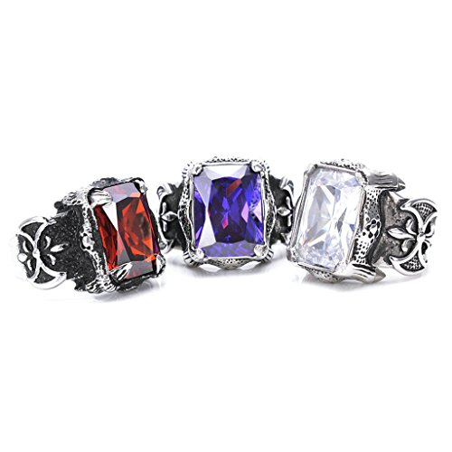 Men's 316L Stainless Steel Retro Inlaid Ruby Ring Red Gothic Vintage Biker Size (Blues Clues Couple Costume)