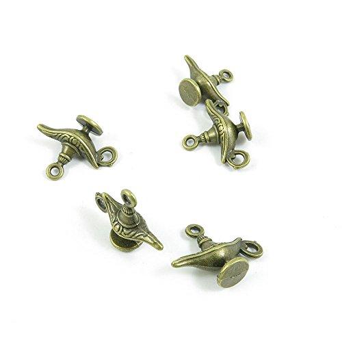 Price per 20 Pieces Fashion Jewelry Making Charms Findings Arts Crafts Beading Antique Bronze Tone C4WI1 Aladdin Genie Magic Lamp (Magic Lamp Charm)