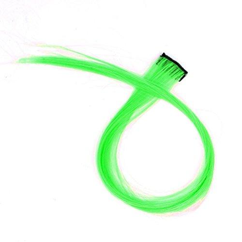 [DEESEE(TM)1pc Hair multicolour gradient neon multicolour hair wig piece (Green (1 pcs))] (Making Waves Sailor Costume)