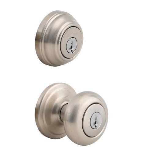 5. Kwikset 992 Juno Entry Knob and Double-Cylinder Deadbolt (Keyed on both sides) Combo Pack featuring SmartKey in Satin Nickel