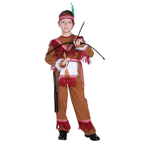 Kids Native American Boys Halloween Cosplay Costume Indian Prince Dress up (8-10) -