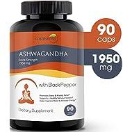 Ashwagandha Organic Capsules 1950mg with Black Pepper - Ashwagandha Extract Root - Stress Relief - Anti Anxiety - Mood Enhancer - Organic Ashwagandha Root Powder Extract - 90 Vegan Capsules