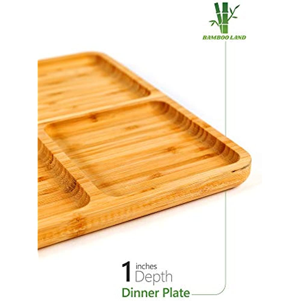 Bamboo Portion Platters (Set Of 2), Divided Dinner Plates ...
