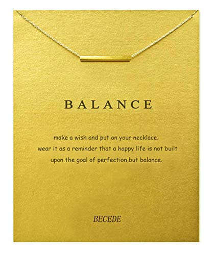 BECEDE Friendship Clover Necklace Unicorn Good Luck Elephant Butterfly Palm Aliens Lotus Cat-Ears Lucky Bird Pendant Necklace with Message Card Gift Card (Gold) (Balance bar-Gold)