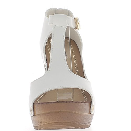 Escarpins ouverts femme blancs à talons de 12 cm et plateforme