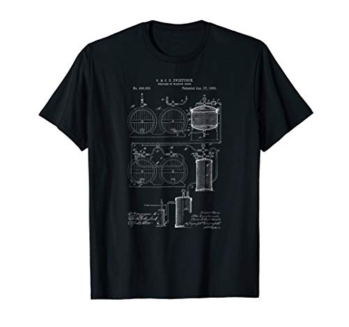 Classic Vintage Patent Print 1893 Craft Beer Brewing T-Shirt