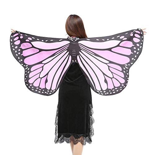 iDWZA Women Girl Butterfly Wings Shawl Scarves Pixie Cosplay Costume Accessory(14770cm,Purple-2 )