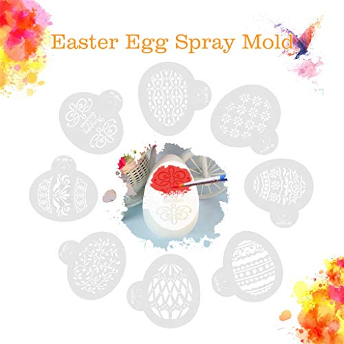 Clearance Sale!DEESEE(TM)8pcs Easter Eggs Cak Tools Cake Stencil Template Spray Coffee Decoration