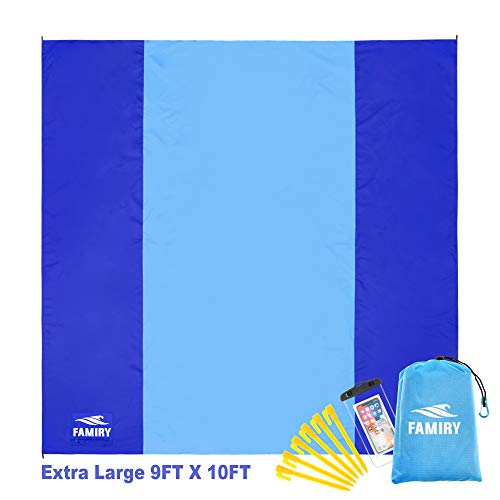 Famiry Sand Free Beach Blanket, Extra Large 10 x 9 Feet Size, Durable & Compact Beach Outdoor Mat, Includes 6 Stakes, 4 Sand Pockets & Zippered Pocket
