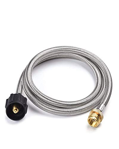 SHINESTAR 5FT Stainless Braided Propane Hose Adapter 1 lb to 20 lb Converter for QCC1/Type 1 LP Tank to 1 LB Portable Grill, Camp Stove, Buddy Heater ()