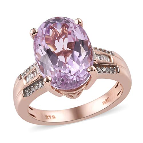 AA Premium Kunzite Diamond Cocktail Ring 925 Sterling Silver Vermeil Rose Gold Jewelry for Women Size 8 Ct 6.5