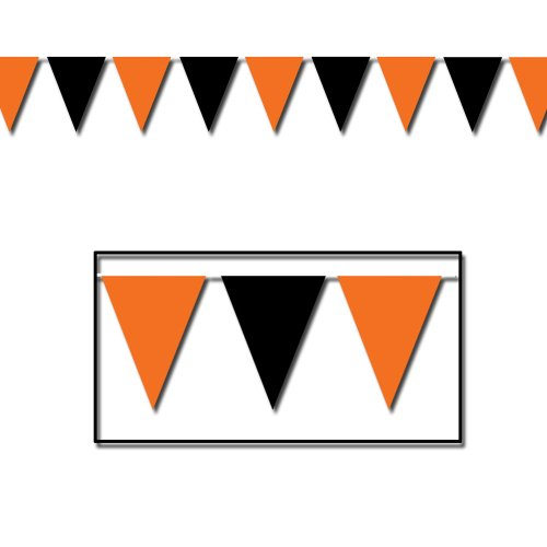 Orange & Black Outdoor Pennant Banner Party Accessory (1 count) -