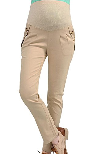 Foucome Full-Panel Women Maternity Pants With Button-Front Curved - Career Front Pants