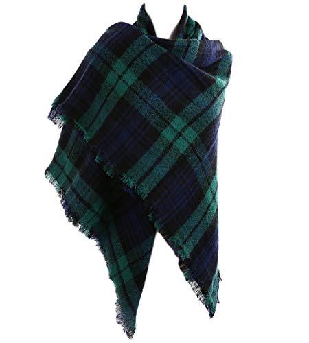 - Fesky Plaid Blanket Scarf Oversized Tartan Wrap Shawl Cape Scarves for Women Green