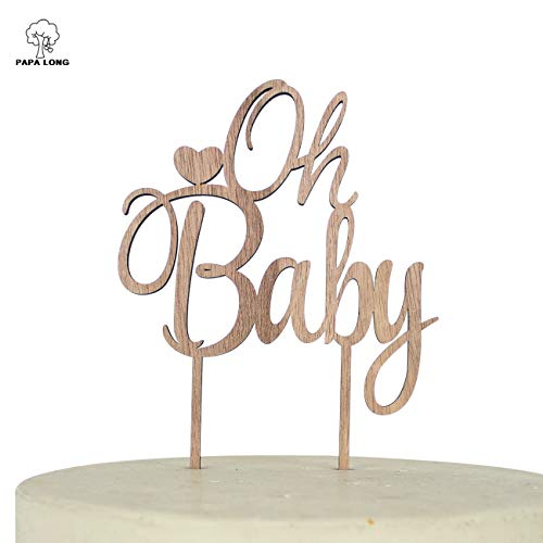 PAPALONG Rustic Oh Baby Cake Topper For Baby Shower boys and girls 6.8x4.9x0.2 inch