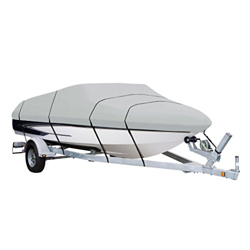 AmazonBasics Boat Cover For 17 to 19 Foot V-Hull Runabouts Bayliner - 23 x 9.6 x 2.5 Feet, Light Grey