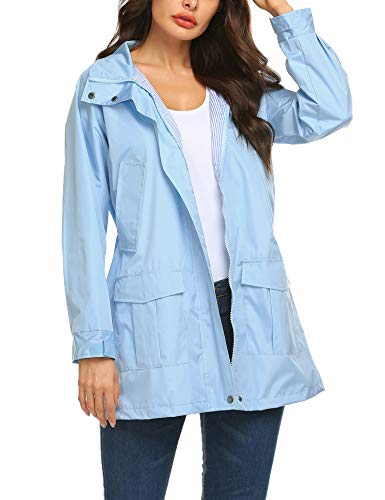 - Romanstii Anorak Raincoat Women Solid Shell Waterfall Jacket Light Blue Large