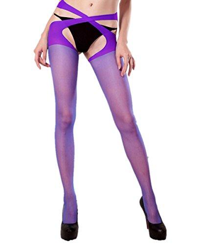 Qisc Womens Fishnet Tights Plus Size Bandage Suspender Pantyhose Stockings (Free Size, Purple) ()