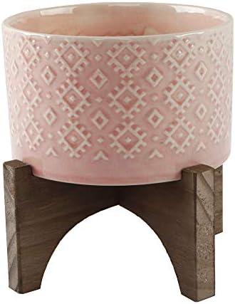 Flora Bunda Mid Century 5 inch India Ceramic Planter on Wood Stand,Glass Pink