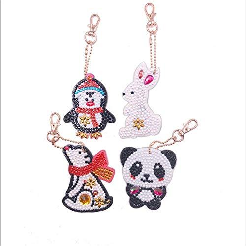 - DIY Diamond 4pcs Keychain Sets Painting Kits Pendants Full Drill Crystal Jewelry Hand Bag Backpack Accessories Metal Gift Animals Panda Rabbit