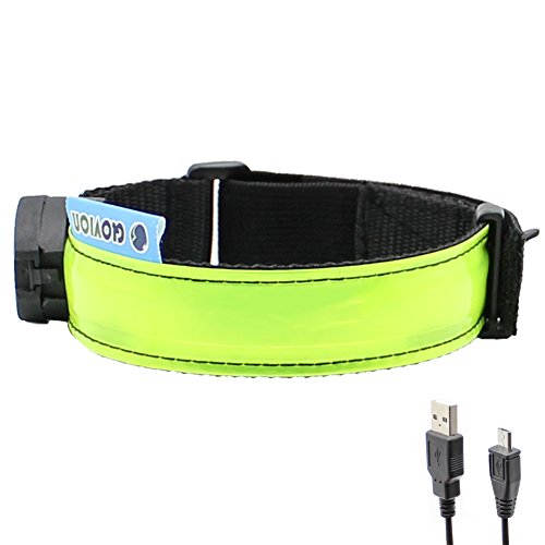 Glovion LED Armband - USB Rechargeable LED Running Armband Light- High Visibility Safety Gear for Night Running, Jogging & Cycling - Green]()