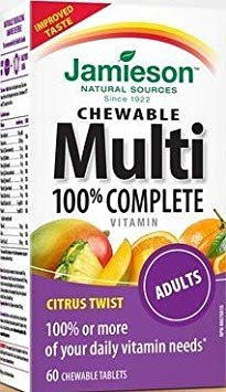(Jamieson 100% Complete Chewable Multivitamin for Adults Citrus Twist Multi, 60 chewable tabs)