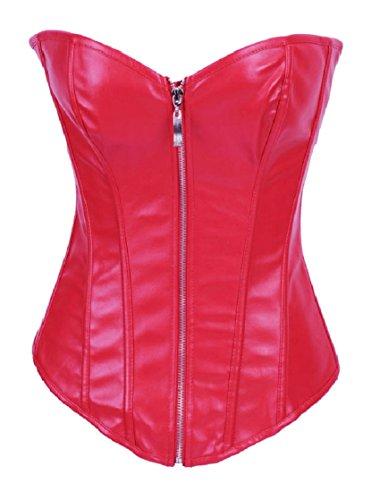 BSLINGERIE Womens Faux Leather Zipper Front Bustier Corset Top
