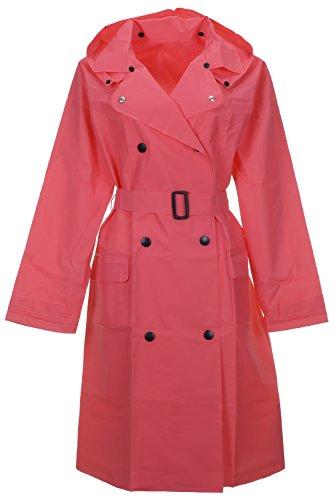 QZUnique Women's Lightweight Long Raincoat With Belt Waterproof Packable Ponchos Jackets With Hood Watermelon - Shipping International Usps Standard