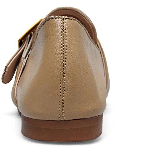 Nove Sette Donne In Vera Pelle Punta Tonda Tacco Piatto Comfort Scarpe Fatte A Mano Con Fibbia Albicocca Fibbia