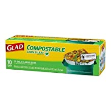 Glad Compostable Lawn and Leaf Extra Large Trash Bags, 33 Gallon, 10 Count