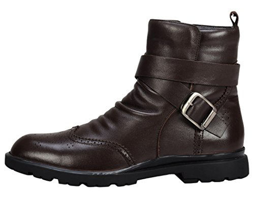 Serene Mens Fashion Trend Buckle Boots(10.5 D(M)US, Brown)