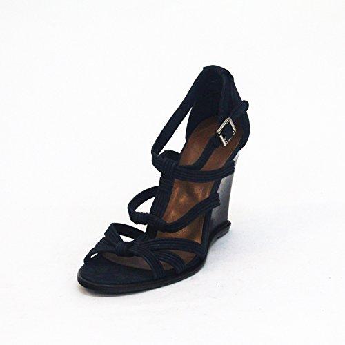 Juicy Couture Distressed metálico T Cruz Correa Sandalias Talla 3,5 Azul - Metallic-navy