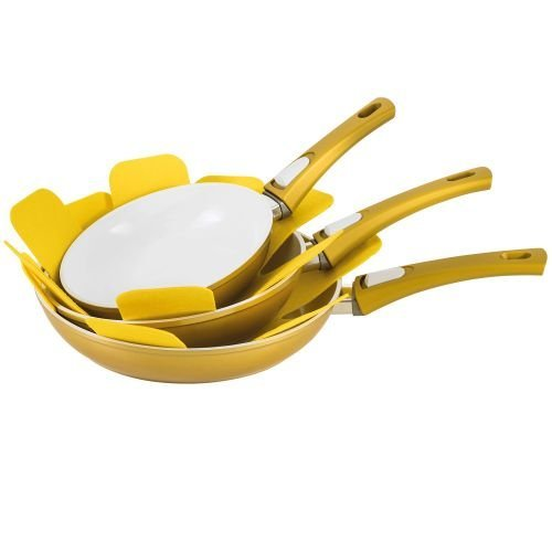 Genius - DIS1 Cerafit Deluxe cacerola de oro 7 piezas de cerámica Cacerola Sartén: Amazon.es: Bricolaje y herramientas