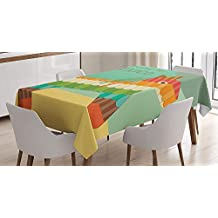 Cinco De Mayo Tablecloth Linen Decor Table Cover for Kitchen Dinning Room Rectangle Oblong Tablecloths 53 W X 53 L Inch, Welcome to Mexico Cinco de Mayo Saying with Traditional Pinata Party Print