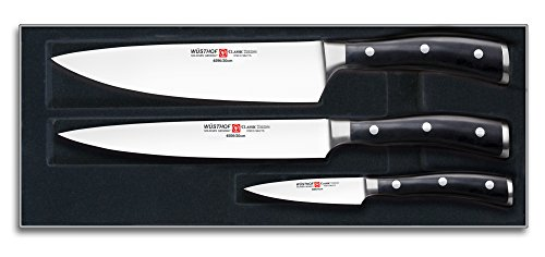 Wusthof Classic Ikon 3-Piece Kitchen Knife Set, Black