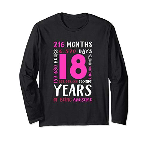 18th Birthday Shirt Daughter Niece Gifts 18 Year Old Girls Long Sleeve T-Shirt (Birthday Gift For 18 Year Old Niece)