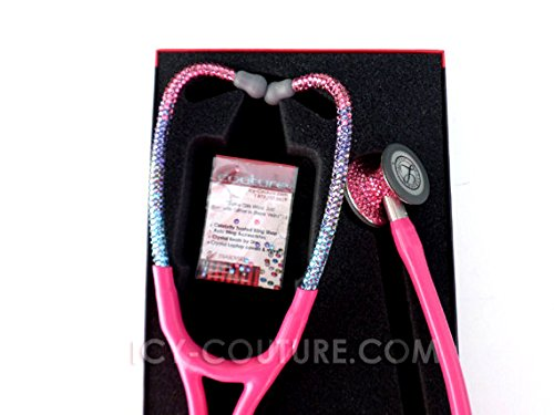 ICY Couture Pink Tube Stethoscope with Swarovski Crystals (Prestige Medical, Barbie Ombre Crystals)