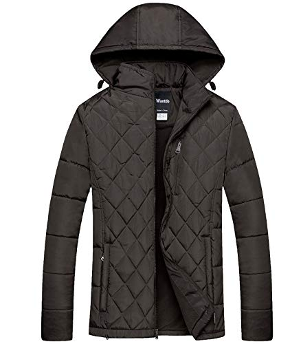 Wantdo Mens Hooded Puffer Jacket Thicken Cotton Padded Coat Diamond Quilting Jacket Coffee XX-Large